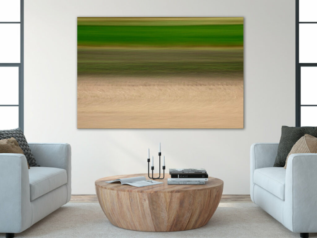 A modern living room with a big photograph on the wall. It shows nature in motion