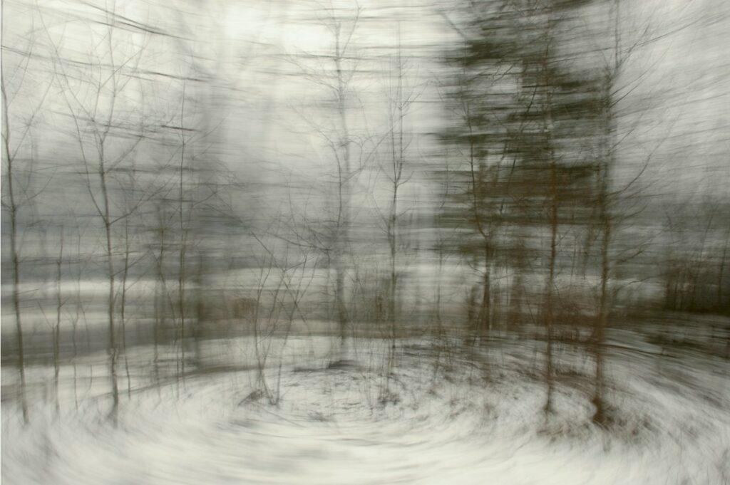 experimentelle Fotokunst, Winterlandschaft mit starker Bewegungsunschärfe, die einen Kreiseffekt erzeugt, als würden die kahlen Bäume sich umeinander drehen. Einzelne Details sind dennoch klar erkennbar.