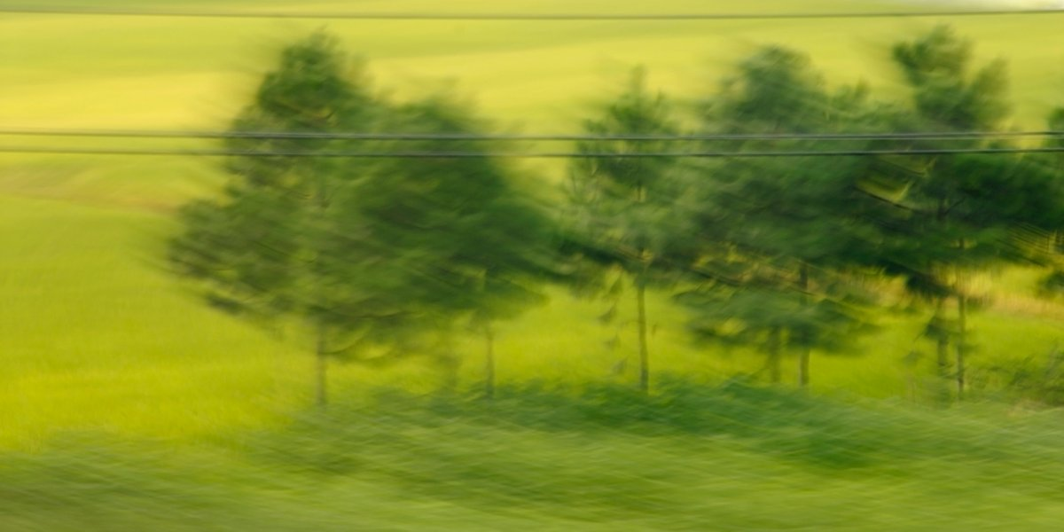 Fotokunst, bewegte Landschaft, ein verwischtes kleines Wäldchen hinter einer Stromleitung,