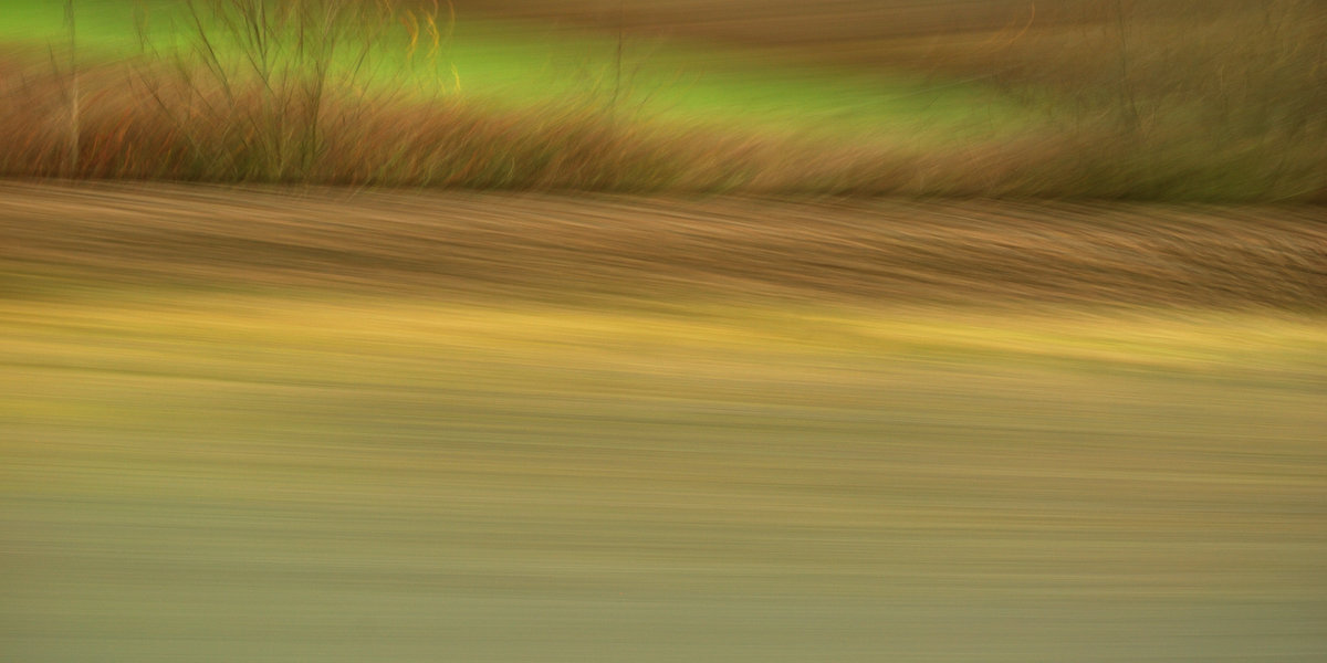 experimental photo art, a detailed view from a train window reduced to a patren of green yellow and brown by motion and blur
