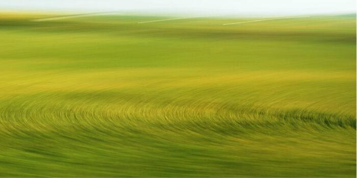 Durch Kamerabewegung und Fahrtgeschwindigkeit aus einem Feld entstandens Kreismuster in grün und gelb