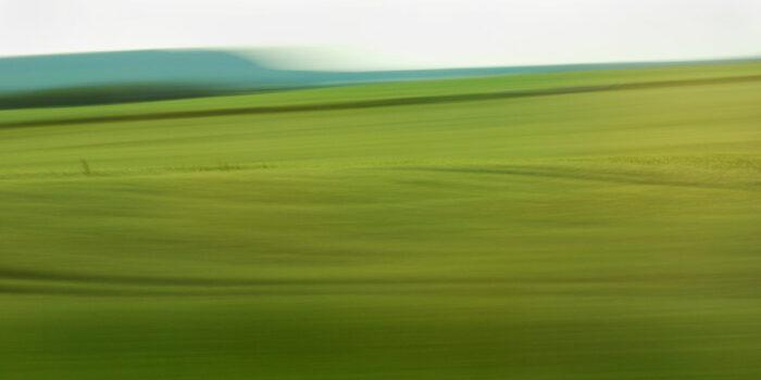 experimentelle Landschaftsfotografie, ein welliges Feld mit starker Bewegungsunschärfe und einzelnen erkennbaren Details in warmen Grüntönen